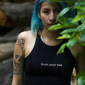 Tops - Burn Your Bra Cropped Tank Black Feminist T-Shirt